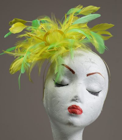 yellow and lime green small feather fascinator hat