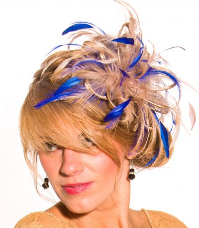 Taupe Nude Almond and royal blue Fascinator Hat Headband handmade and available in over 30 colours