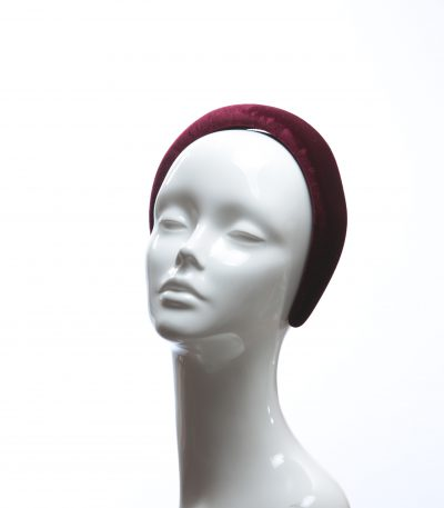 Burgundy Wine Padded Velvet Headband Wedding Fascinator hat