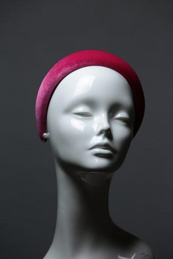 Hot Pink Padded Velvet Headband Wedding Fascinator hat