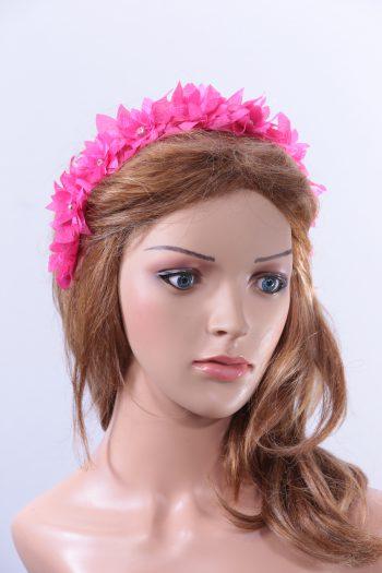 Hot Pink organza flower diamante trim headband fascinator hat suitable for a ladies day out or day at the races or wedding