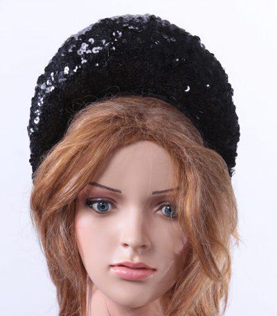 Black Sequin Double sided Halo Crown headband Headpiece Fascinator Hat