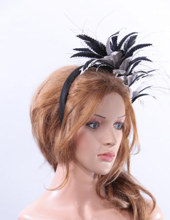 black and pale grey feather mount headband suitable for a wedding or ladies day at the races