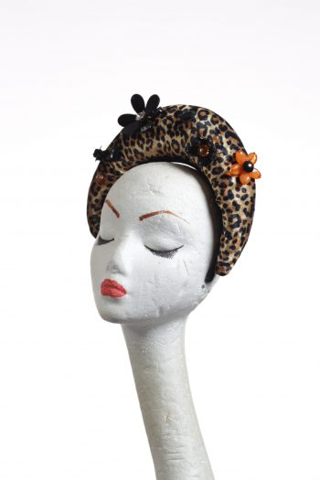 Animal (leopard) print halo crown suitable for a wedding, or ladies day at the races