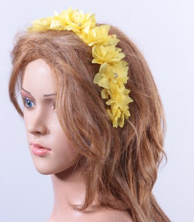 Yellow organza flower headband suitable for a ladies day at the races, bridal or a wedding