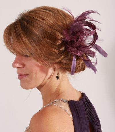 Burgundy Wine small sinamay and feather fascinator hat