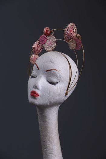 pink halo crown fascinator hat