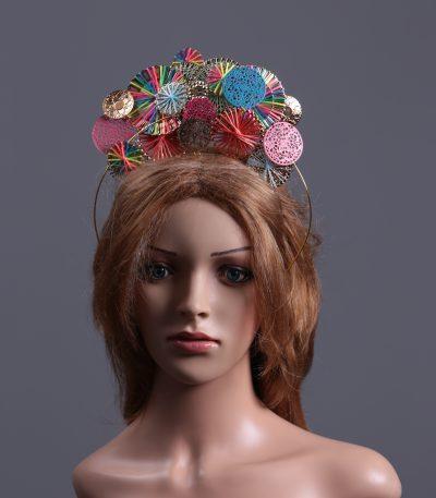 Rainbow disc gold halo crown fascinator hat