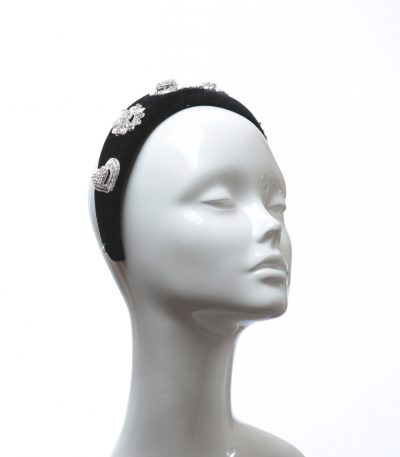 Black Rhinestone Diamante Velvet Padded crown fascinator headband