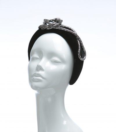 Black Snake Rhinestone Diamante Velvet Padded crown fascinator headband