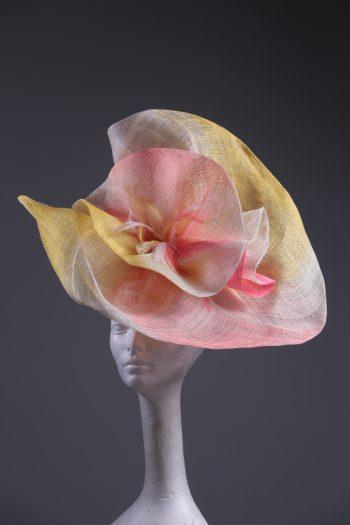 coral ivory yellow large sinimay Fascinator Hat