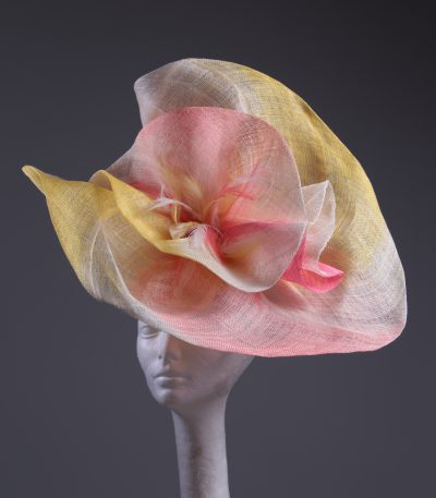 coral ivory yellow large sinimay Fascinator Hat