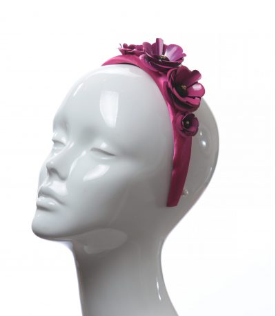 deep hot pink padded satin headband with metal flower beads headband fascinator hat