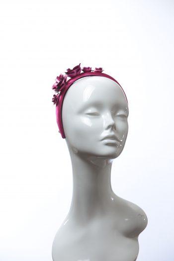 deep hot pink padded satin headband with metal flower beads headband fascinator hat