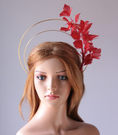 gold double halo crown with red feather tree