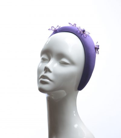 light purple glass flower beads headband