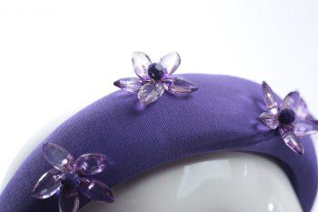 light purple glass flower beads headband