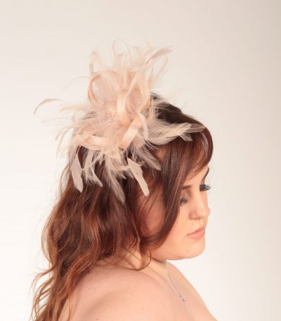 oyster pink small sinamay and feather fascinator hat