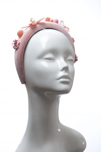 Dusky Pink Velvet Padded beaded Fascinator Hat Headband handmade