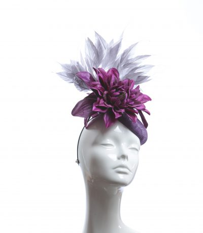 plum purple pewter feather pillbox fascinator hat