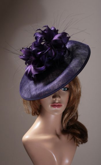 purple sinamay saucer with feather mount (1)