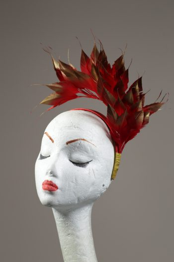 Red and Gold tip Feather Headband Fascinator Hat