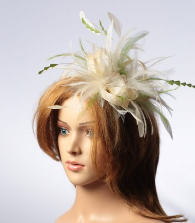 cream and olive moss green sinamay and feather fascinator hat