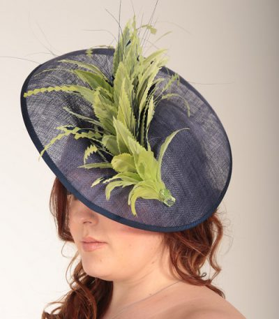 Navy Blue and lime green feather saucer fascinator hatinator hat