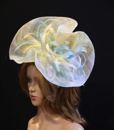 aqua ivory lemon sinamay feather saucer hat