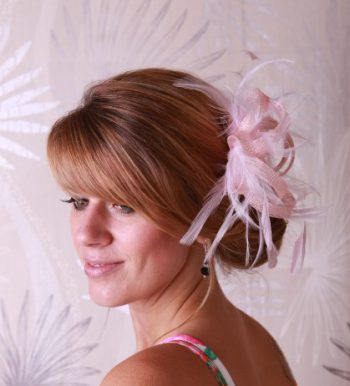 baby pink small sinamay and feather fascinator hat