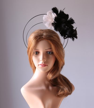 black and ivory flower double black halo crown Fascinator hat