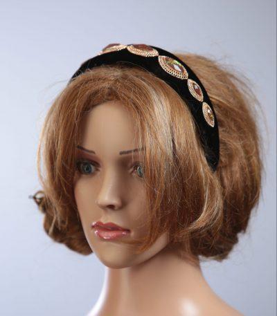 black velvet headband eye shaped jewels