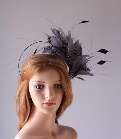 pewter grey feather mount on a black halo crown headband