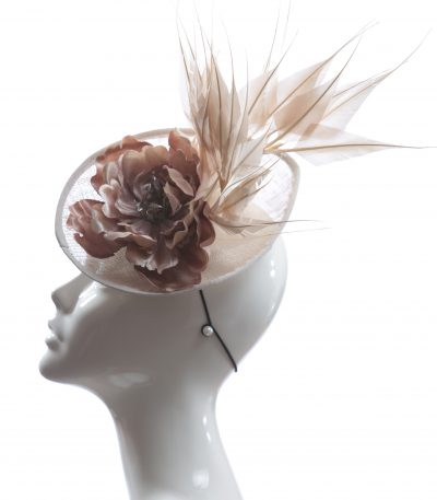 Taupe Nude Almond Fascinator Hat Headband handmade and available in over 30 colours