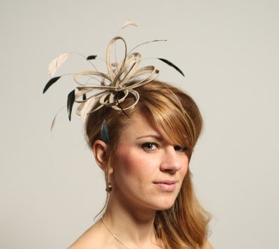 taupe nude and black feather fascinator hat
