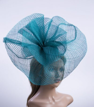 teal windowpane sinamay saucer fascinator hat (1)
