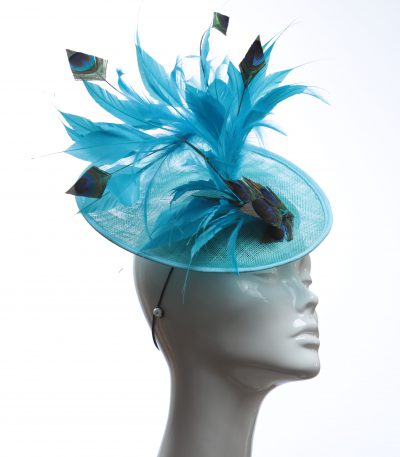 Turquoise Peacock Feather saucer fascinator hat
