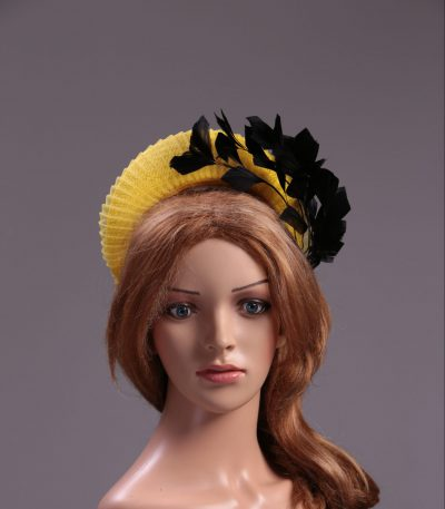 yellow halo crown with crin and black feather tree