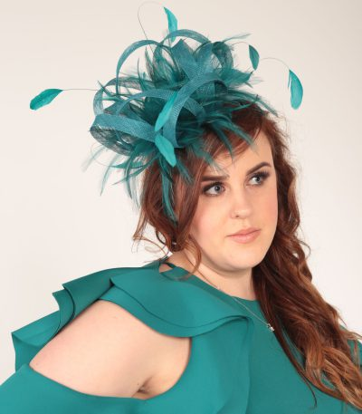 Teal green large sinamay and feather fascinator hat (1)