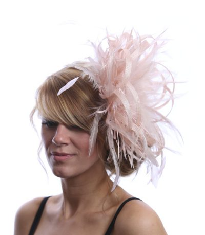 oyster Pink large sinamay loop fascinator hat (1)