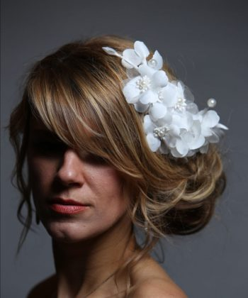 White wired flower headpiece with pearls
