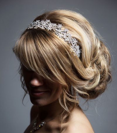 Silver rhinestone diamante fascinator headband