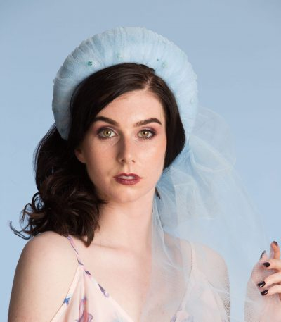 Baby Blue Tulle pleated headband crown fascinator hat headband
