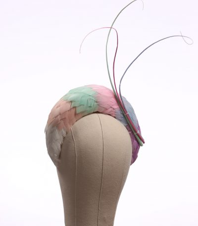 multi pastel rainbow feather halo crown