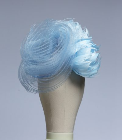 baby blue and cornflower crin percher saucer fascinator hat
