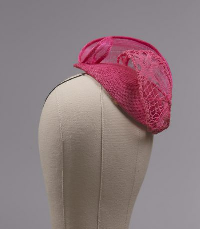 hot pink silk abaca lace and straw teardrop fascinator hat