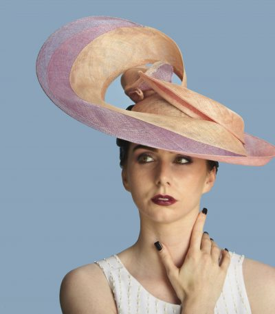 Oyster lilac sinamay swirl hat