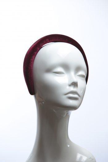 Burgundy Wine Padded Velvet Headband Wedding Fascinator hat