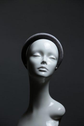 Pewter Grey Velvet Headband Wedding Fascinator hat