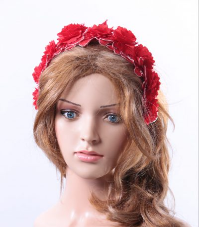 Vintage Red lace 3D flower headband Headpiece Fascinator Hat suitable for a wedding, bridal or ladies day at the races